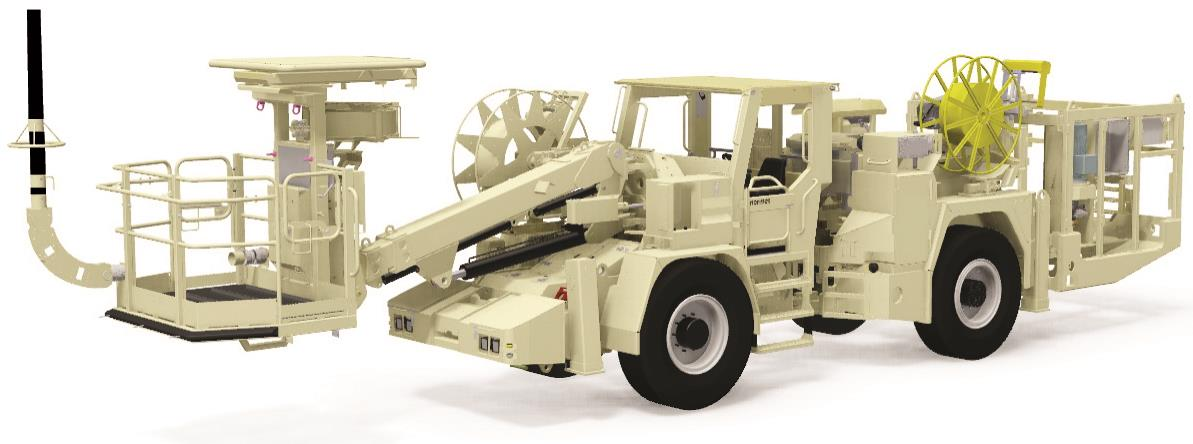 Charger designed for face and production charging in underground mines and tunnels.